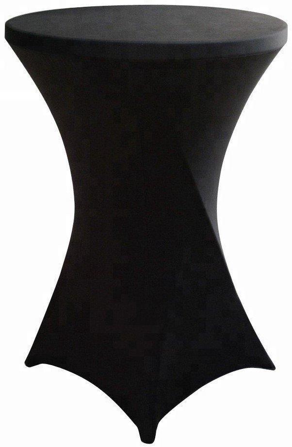 Скатерть стрейч, круглая, белая/черная