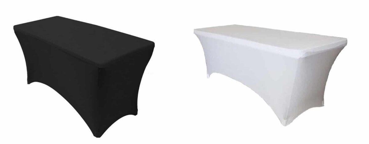 Скатерть стрейч, прямоугольная, белая/черная
